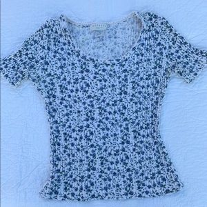 Express Vintage 90s Tricot Ribbed Floral Tee